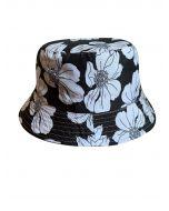 Hawaiian Flower Print Bucket Hat Black