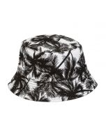 Bucket Hat For Kids With Black Palm Tree Design.