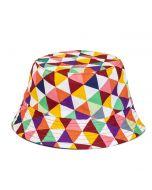 Multi Coloured Geometric Print Bucket Hat