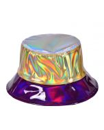 Holographic Patchwork PU Bucket Hat In Silver, Gold and Purple.