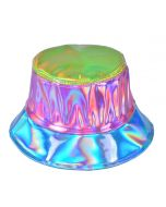 Holographic Bucket Hat Patchwork Green, Pink and Turquoise