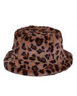 Leopard Print Fluffy Bucket Hat