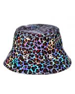 Silver Holographic Leopard Print Bucket Hat