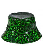 Green Holographic Leopard Print Bucket Hat