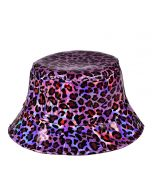 Pink Holographic Leopard Print Bucket Hat