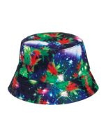 Galaxy Bucket Hat With Ganja Leaves