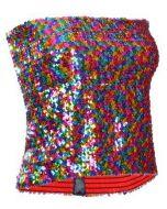 Rainbow Sequin Strapless Top