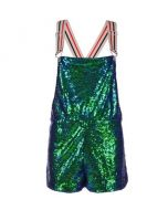Short Green Sequin Dungarees