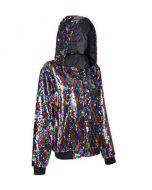 Rainbow Sequin Hooded Jacket