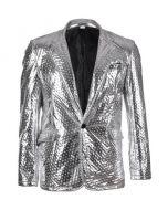 Embossed Silver Metallic Blazer