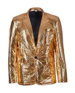 Gold Embossed Metallic Blazer