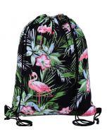 Black Flamingo Drawstring Bag