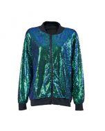 Aqua green sequin jacket