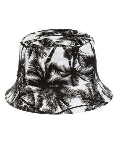 Hawaiian Print Bucket Hat With Black Palm Trees