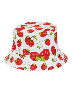 Bucket Hat For Kids With Strawberries Print