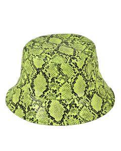 Neon Yellow Snake Print Bucket Hat