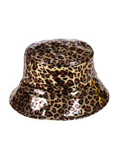 Gold Holographic Leopard Print Bucket Hat