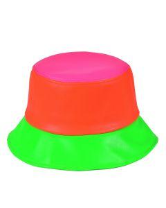 Patchwork Neon PU Bucket Hat