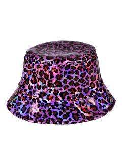 Pink Holographic Leopard Print Bucket Hat