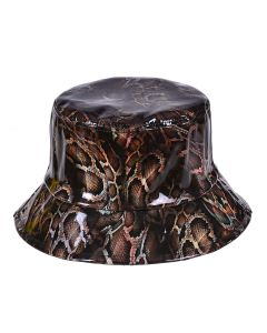 Realistic Snake Print PU Bucket Hat