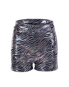 Holographic Zebra Print Hotpants