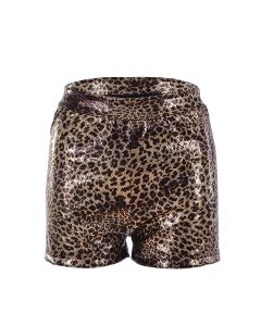 Holographic Leopard Print Hot Pants