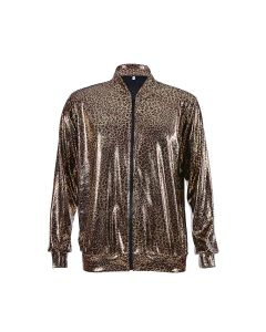 Holographic Leopard Print Bomber Jacket