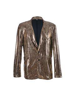 Holographic Leopard Print  Blazer Jacket