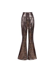Holographic Snake Print Flares