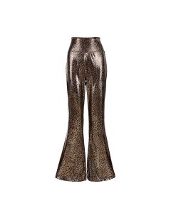Holographic Leopard Print Flares