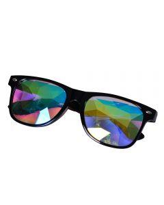 Black wayfarer style glasses with kaleidoscope prism lens