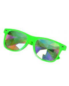 Neon green wayfarer style glasses with kaleidoscope prism lens