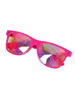 Neon pink wayfarer style sunglasses with kaleidoscpe prism lens