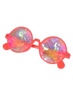 Neon orange round glasses with kaleidoscope prism lens