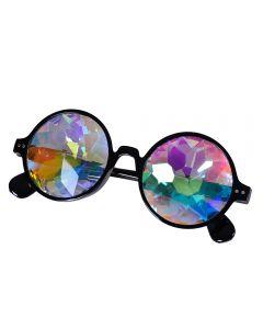 Black Kaleidoscope Glasses Round