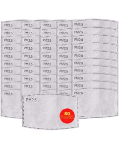 50x Replacement PM2.5 Filters for Cotton Reusable Face Masks - 5 Layer Activated Carbon Filters