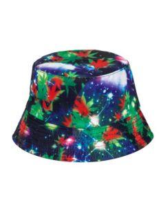 Galaxy Bucket Hat With Ganja Leaves