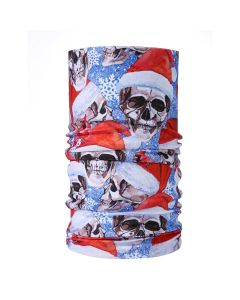 Christmas Snood Type Face Mask With Skull Wearing Santa Hat MS28