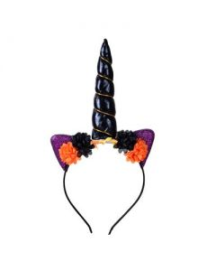 Black and Orange Unicorn Headband