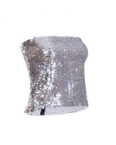 Silver Seuin Strapless Top