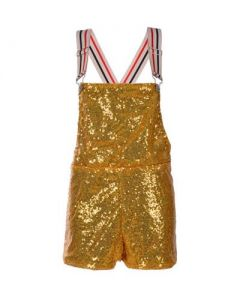 Short Gold Sequin Dungarees
