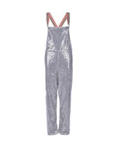 Long Silver Sequin Dungarees