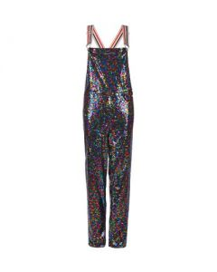 Long Rainbow Sequin Dungarees