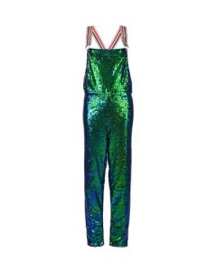 Long Green Sequin Dungarees