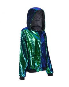 Green Sequin Hooded Jacket