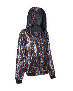 Rainbow Sequin Hooded Jacket