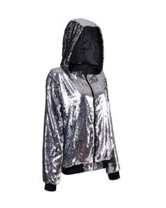 Silver Sequin Hooded Jacket