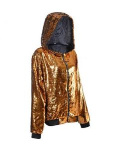 Gold Sequin Hooded Jacket