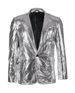 Embossed Silver Metallic Blazer