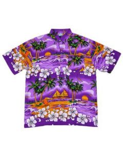 Hawaiian Shirt With Palm Tree Purple